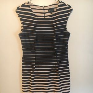 Sleeveless, fitted, striped, professional dress